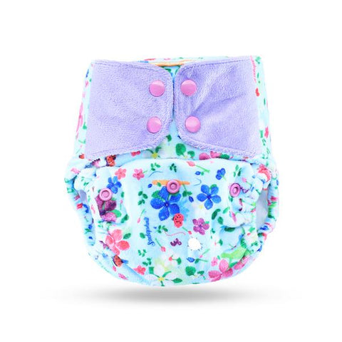 Reusable, Supersoft Cover Diaper 'Easy Tabs' with 1 Dry-Feel Organic Cotton Soaker (Inserts) - Periwinkle