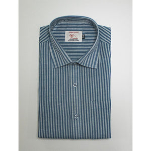 Men's Handwoven Khadi Half Sleeve Shirt - Blue and White Stripes
