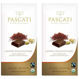 Saffron and Pistachio Organic Dark Chocolate, 75g (Pack of 2)