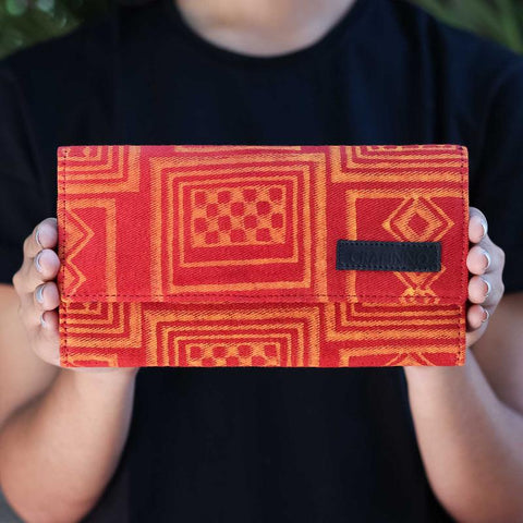 Handcrafted Scarlet Blocks Wallet