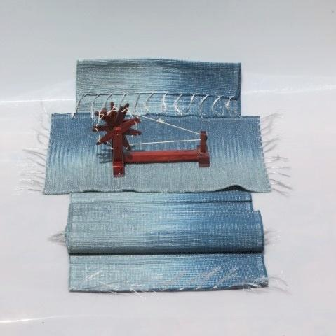 Set of Handwoven Hibiscus Fibre Runner and 6 Placemats (Blue and Grey)