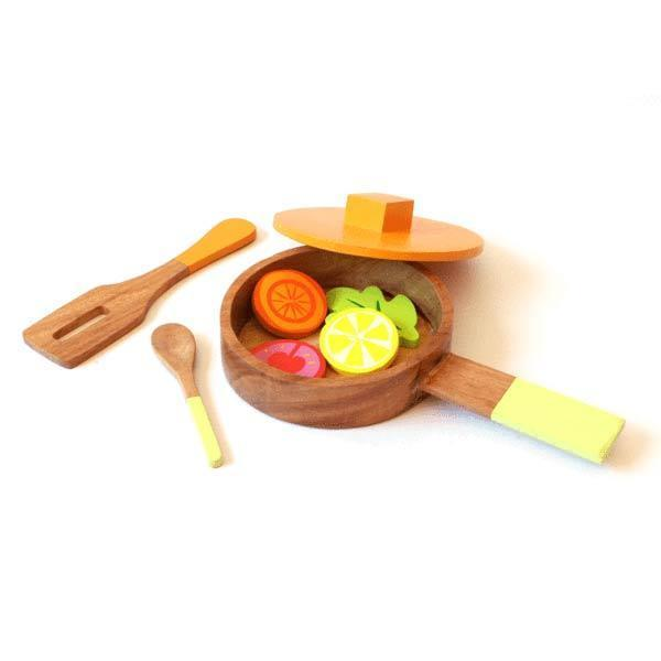 Lil Chef's Wooden Toy Cooking Set - 100% Safe, Natural & Eco-Friendly