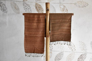 Handwoven, Naturally Dyed Silk and Wool Scarf  - Brown