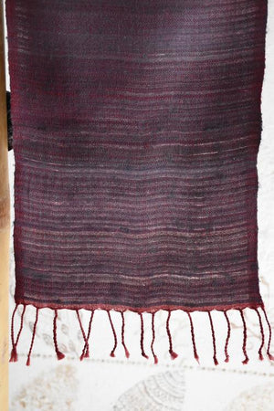 Handwoven, Naturally Dyed Silk and Wool Scarf - Purple