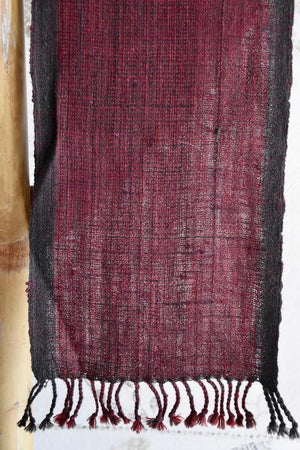 Handwoven, Naturally Dyed Silk and Wool Scarf - Maroon