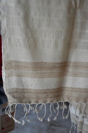 Handwoven, Naturally Dyed Silk and Wool Shawl - Cream with Gold Stripes