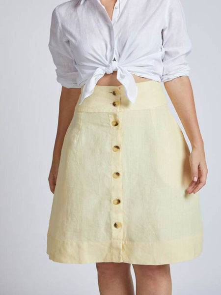 Natural Hemp Skater Skirt - Yellow