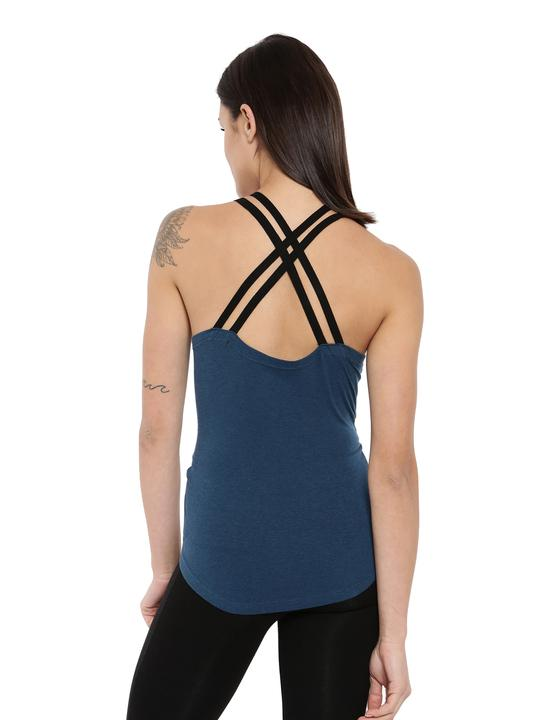 Women's Bamboo Crossback Tank - Sailor Blue with Slate Black (AWFR004S)