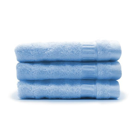 Bamboo Face/Sports Towel - Ultra Soft, Absorbent, Anti-Microbial , Pack of 3 (Sky Blue)