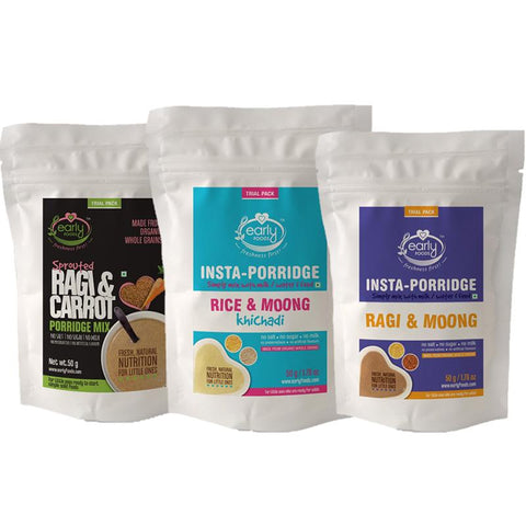 Combo of Stage 1 Baby Foods - 3 Trial Packs of Fresh Porridge Mixes - 50g each