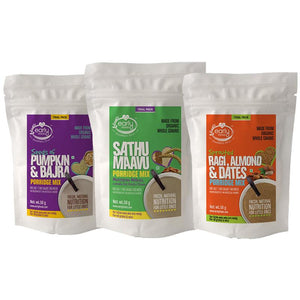 Combo of Stage 2 Baby Foods - 3 Trial Packs of Fresh Porridge Mixes - 50g each
