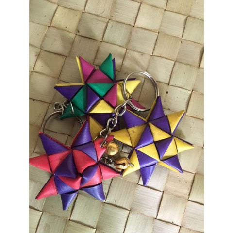 Handwoven Palm Leaf Star Keychain (Pack of 2)