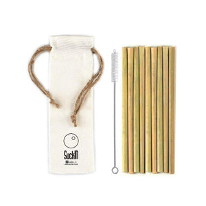 Reusable Bamboo Straws with Cleaner - (Regular Straight)