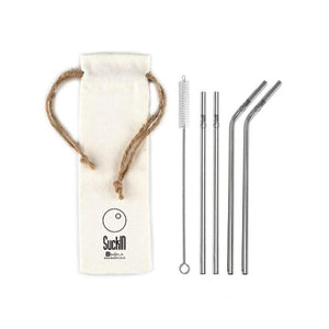 Reusable Silver Coloured Regular Steel Straws - (Set of 4 - 2 Bent + 2 Straight)
