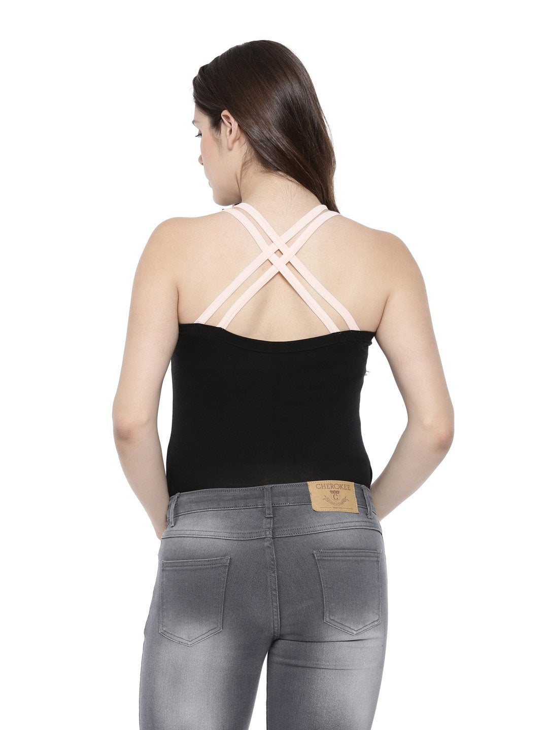 Womens Bamboo Crossback Tank - Slate Black with Summer Blush (AWFR004K)