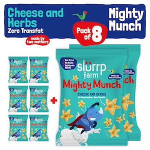 Tasty Mighty Munch - Cheese and Herbs - Healthy Snack for Kids (Pack of 8) - 200g