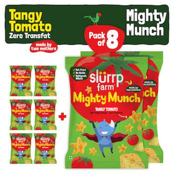 Tasty Mighty Munch - Tangy Tomato - Healthy Snack for Kids (Pack of 8) - 200g