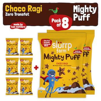 Tasty Mighty Puff - Choco Ragi - Healthy Snack for Kids (Pack of 8) - 200g