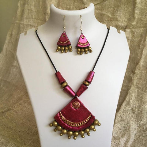 Terracotta Jewellery Set Handmade by Women Artisans - Pink