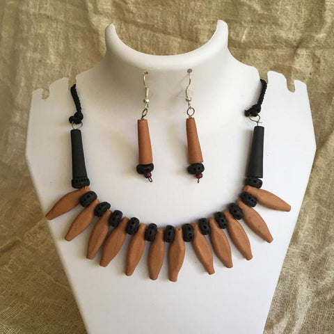 Terracotta Jewellery Set Handmade by Women Artisans - Orange Leaf Design