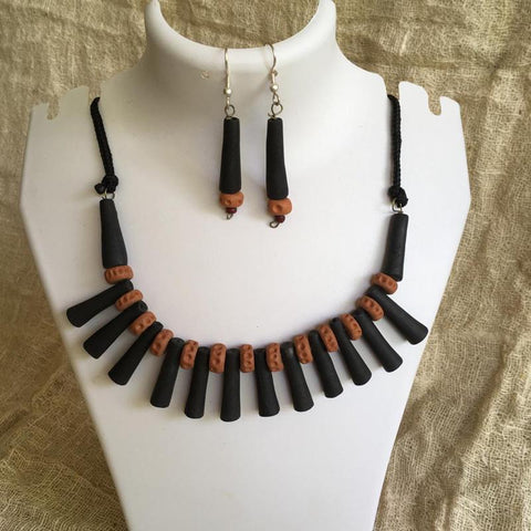 Terracotta Jewellery Set Handmade by Women Artisans - Brown & Black