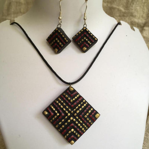 Terracotta Jewellery Set Handmade by Women Artisans - Square Design