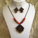 Terracotta Jewellery Set Handmade by Women Artisans - Red, Black & Gold Square Design