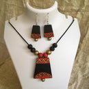 Terracotta Jewellery Set Handmade by Women Artisans - Bell Shaped Pendant