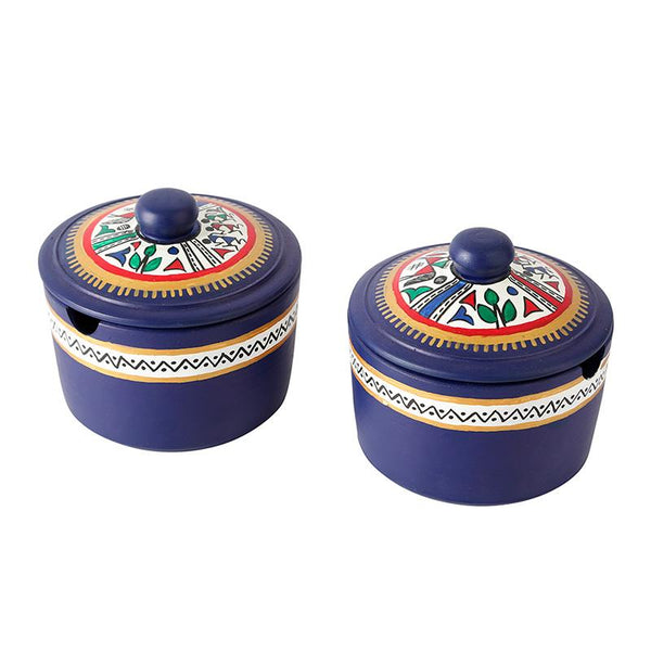 Terracotta Pickle Jar Set with Sheesham Tray and Spoon (Blue) created by Traditional Artisans