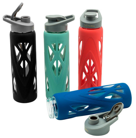 Borosilicate Glass Water Bottle (750 ml) with Protective Silicone Sleeve & Leak-Proof Flip Cap