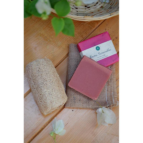 Handmade, Cold-Processed Tomato Soap and Coconut Fibre Loofah Combo