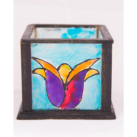 Handpainted Glass Tealight Holder (Purple Tulip)