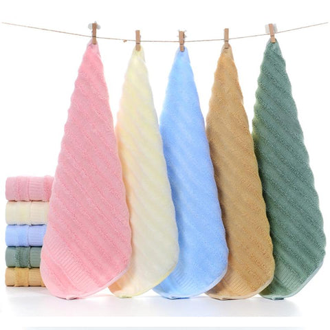 Bamboo Face Towel - Ultra Soft, Absorbent, Anti-Microbial - Pack of 5 (Green, Pink, Khaki, Blue, Cream)
