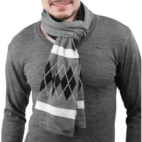 Unisex Argyle-Checked Woollen Muffler (Grey)