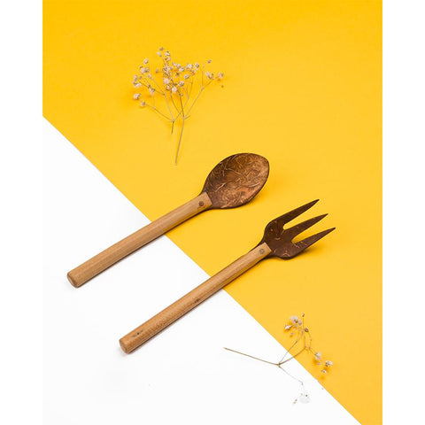 Upcycled Coconut Shell Spoon and Fork