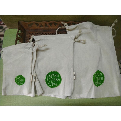 Cotton Veggie Storage Pouches made by Women Artisans (Large, Small & Medium), 300g - Pack of 6