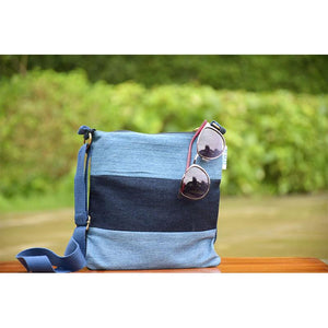 Velocity Bag made with Upcycled Jeans