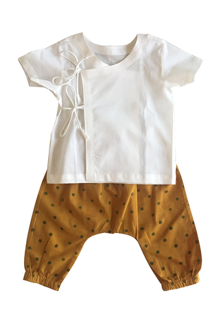 Baby Essential Angarakha Top with Polka Pyjamas - Natural Dyed Organic Cotton