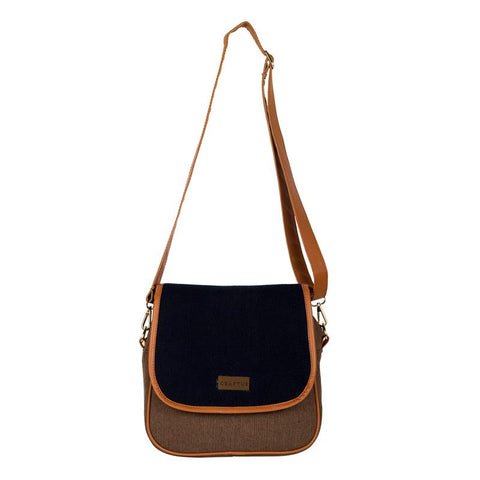 Washed Denim Sling Bag  Handmade by Women Artisans - Brown and Black