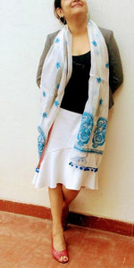 White Blue Chanderi Stole with Kantha Embroidery