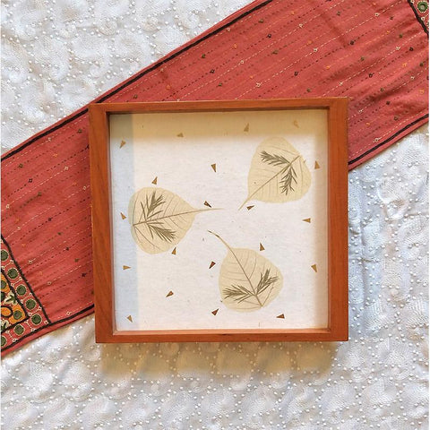 Handcrafted Square Serving Tray embellished with Dried Peepal Leaves (White)
