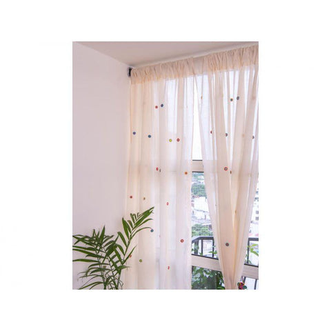 Cotton Window Curtain with Multicoloured Crochet Detailing - Mixed Whorls
