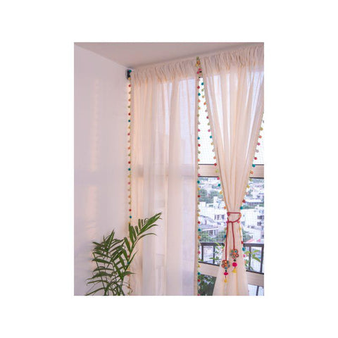 Cotton Window Curtain with Crochet Detailing - Multicoloured Beads