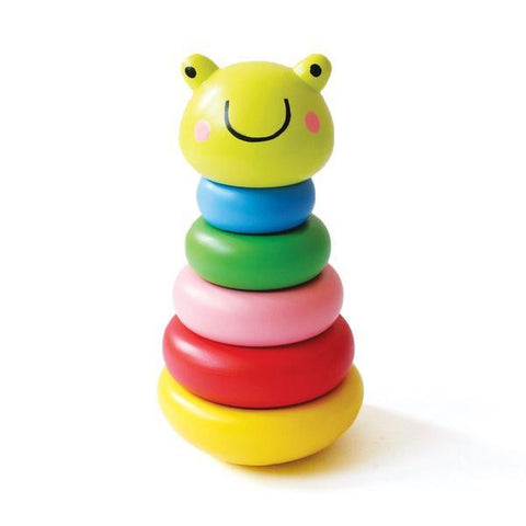 Wobbly Frog Wooden Stacker Toy Set - 100% Safe, Natural & Eco-Friendly