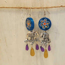 Flower with Haathi Earrings Handcrafted by Women Artisans of Varanasi