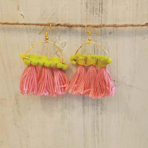 Green Lace with Peach Tassel Earrings Handcrafted by Women Artisans of Varanasi
