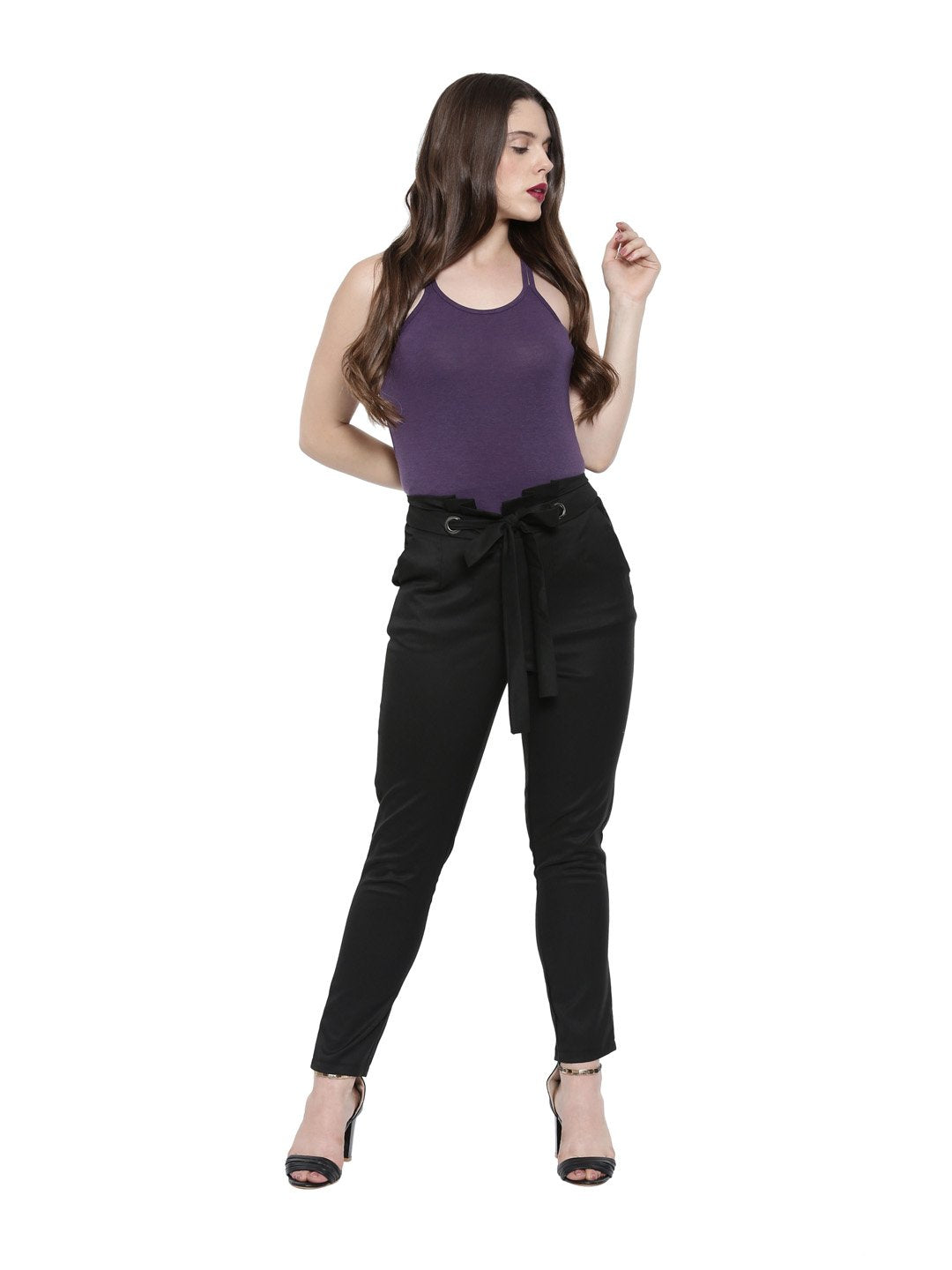 Women's Bamboo Relaxed Fit Knotted Back Top - Midnight Plum (AWFR008P)