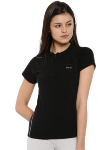 Womens Bamboo Zip-Up Tee - Slate Black (AWFT008K)