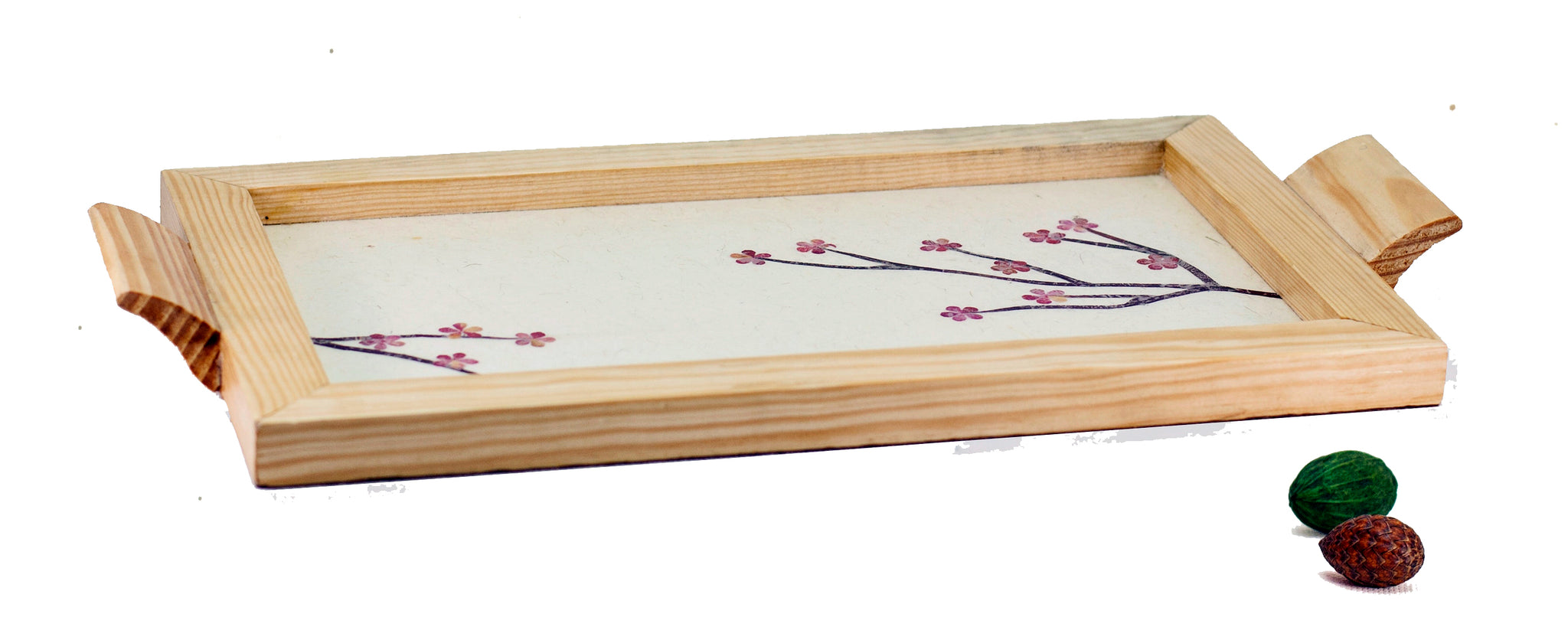 Small Floral Wooden Tray Handmade by Women Artisans