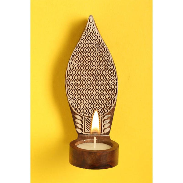 Hand-Carved Wooden Tealight Holder (Medium) created by Traditional Artisans